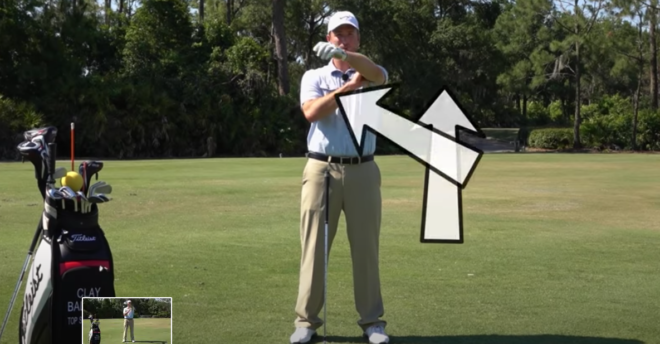 On the backswing your left arm rolls up and over your right shoulder
